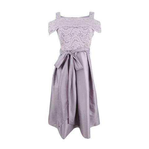 R&M Richards Petite Cold-Shoulder Fit & Flare Dress - Mauve