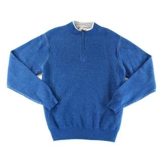 Peter Millar NEW Blue Mens Size Large L Quarter Zip Cashmere Sweater