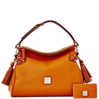 Dooney & Bourke Pebble Grain Satchel and Card Case (Introduced by Dooney & Bourke at $295 in Dec 2014) - Caramel