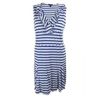 Ralph Lauren Women's Striped Ruffled Neck Dress - 2x