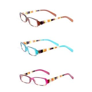 Womens Striped Rectangle Reading Glasses - 3 Pair Pack