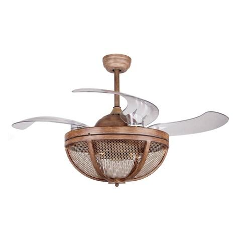 "46-inch Retractable Weathered Oak Wood 4-Blades Ceiling Fan - 46"""