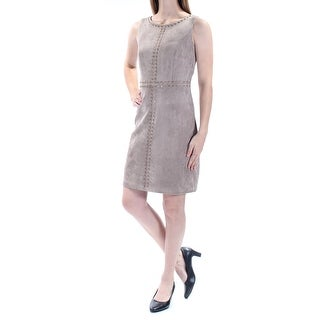 Womens Beige Sleeveless Above The Knee Casual Dress Size: 14