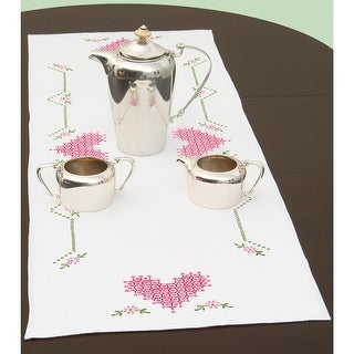 """Stamped Table Runner/Scarf 15""""X42""""-Chicken Scratch Hearts"""