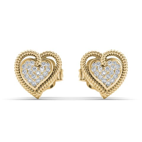 De Couer 10k Yellow Gold 1/10ct TDW Diamond Heart Earrings