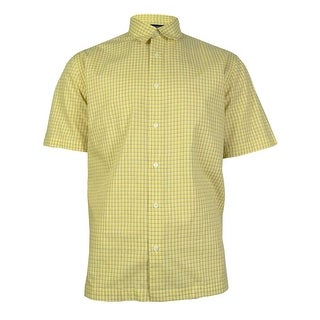 JA John Ashford Men's Checkered Short Sleeves Dress Shirt - ocean wave - L