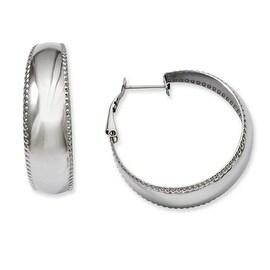 Stainless Steel Textured Edge Hoop Earrings