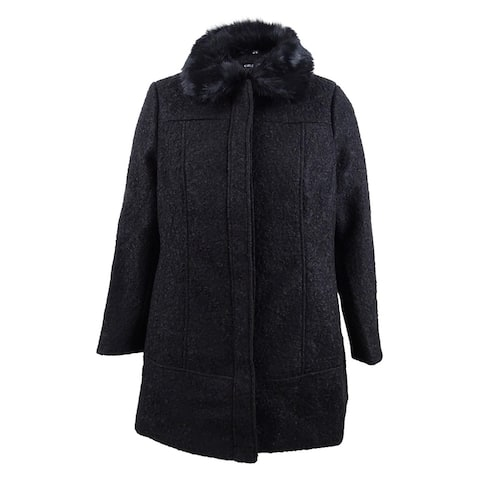 City Chic Women's Trendy Plus Sweet Dreams Faux-Fur-Trim Coat - Black