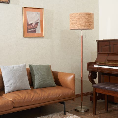 CO-Z 65-Inch Vintage Torchiere Standing Floor Lamp w Wood Grain Shade - Wood Grain