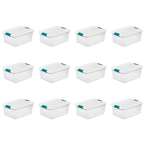 """Case of 12 Sterilite 15 Quart Latching Boxes - 11.25"""" wide"""