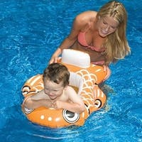 "32"" Water Sports Inflatable Orange Guppy Fish Swimming Pool Baby Seat - White"