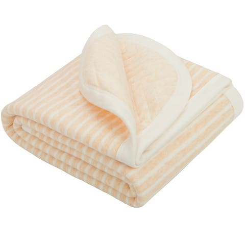 """NTBAY Super Soft Hypoallergenic Jersey Cotton Quilted Solid Color Baby Blanket for Skin Care Stripe & Chevron Pattern 30"""" x 40"""""""