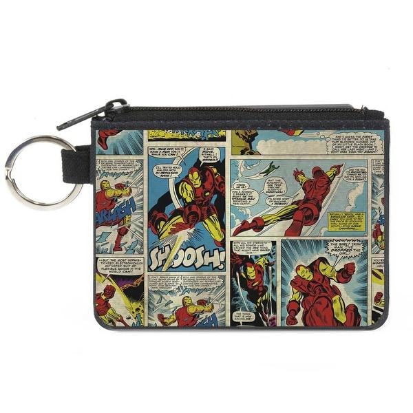 Classic Iron Man Comic Strip Blocks Canvas Zipper Wallet