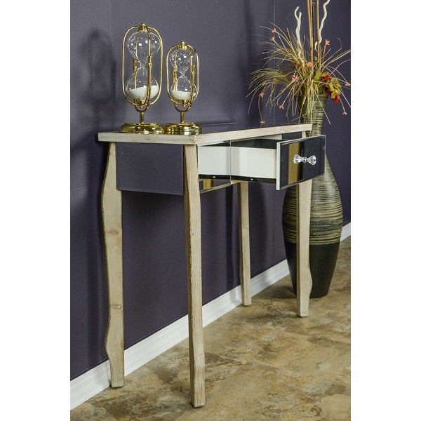1 Drawer Mirrored Console Table Mdf Wood Gl In White Washed Free Shipping Today 24231951