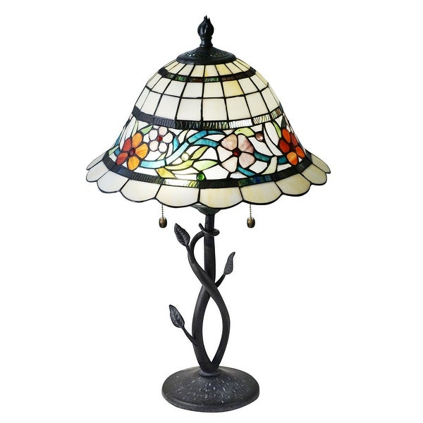 """26"""" Floral Tiffany Hand Rolled Glass table Lamp - N/A"""
