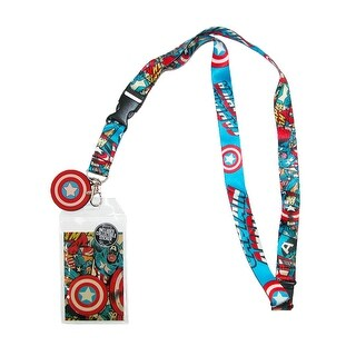 BioWorld Marvel Captain America Logo Lanyard with Badge ID Holder - Multi - One Size