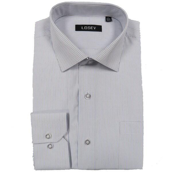 Men's Regular/Fashion Fit Long-Sleeve Multi Pattern Botton-Front Dress Shirt (Light Blue Stripe)
