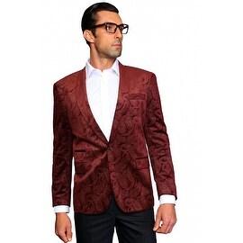 MZV-405 BURGUNDY Men's Manzini Fancy Paisley design Velvet, sport coat