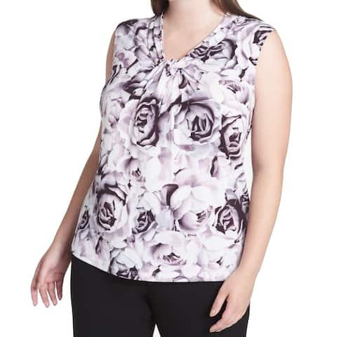 4db56127d1 Calvin Klein Women s Plus Floral Print Twist Neck Blouse