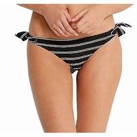 Seafolly Black Womens Size 10 Bikini Bottom Striped Swimwear