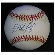 Signed Boggs Wade American League Baseball in blue ink on the sweet spot Light toning and staining