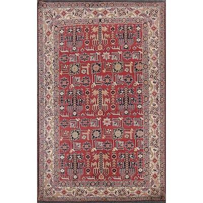 "Traditional Geometric Oriental Kazak Area Rug Wool Hand-knotted Carpet - 5'0"" x 7'8"""