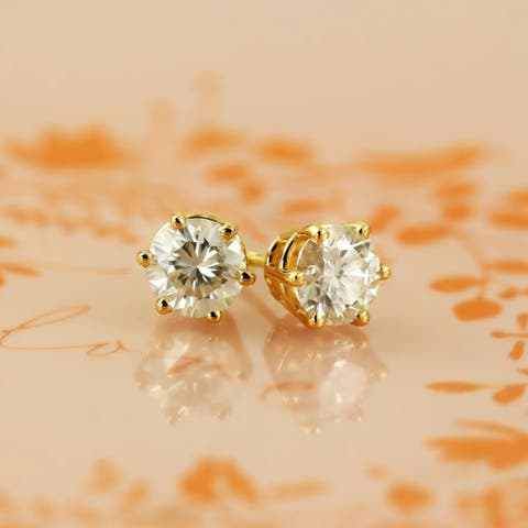 Auriya 1ctw Round Moissanite Stud Earrings 14k Gold - 5 mm