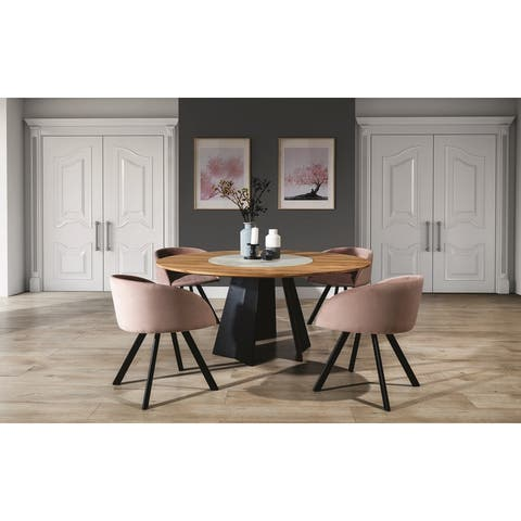 ORIANA Solid Wood Round Dining Table - Natural Wood/Marble/ Black