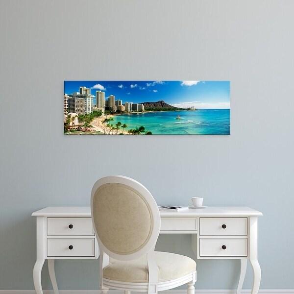 Easy Art Prints Panoramic Images's 'Hotels on the beach, Waikiki Beach, Oahu, Honolulu, Hawaii, USA' Canvas Art
