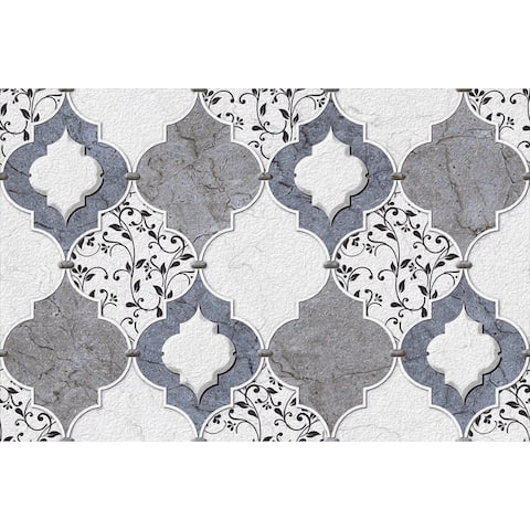 Grey Moroccan Tile Removable Wallpaper - 10'ft H x 24''inch W