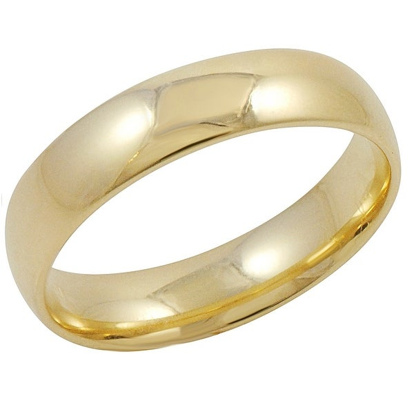 Men's 10K Yellow Gold 5mm Comfort Fit Plain Wedding Band (Available Ring Sizes 8-12 1/2)