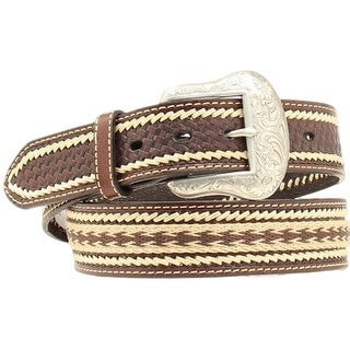 Nocona Western Belt Mens Leather Laced Southwest Mocha Tan