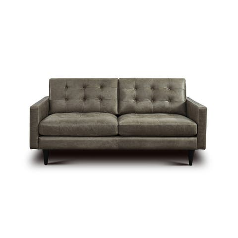 Antholl Tufted Leather Loveseat