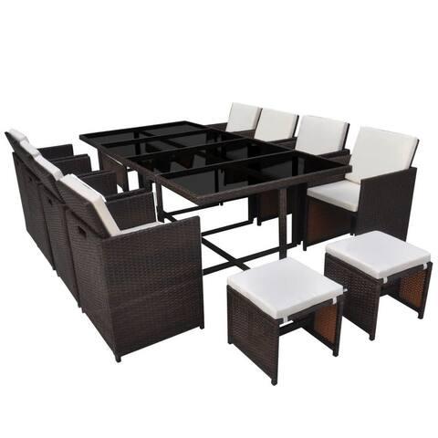 vidaXL Outdoor Dining Set 33 Piece Wicker Brown Garden Table Chair