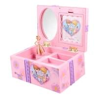 Flower Print Rectangle Music Box w Jewelry Storage for Children Kids Pink Purple