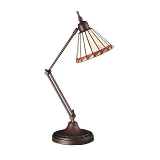 Meyda Tiffany 65946 Tiffany Single Light Swing Arm Desk Lamp - tiffany glass