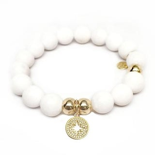 Julieta Jewelry Starburst Charm White Jade Bracelet