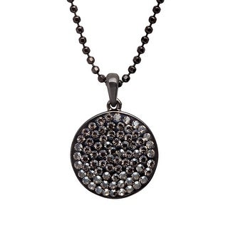 Crystaluxe Disc Pendant with Satin Swarovski Crystals in Sterling Silver - grey