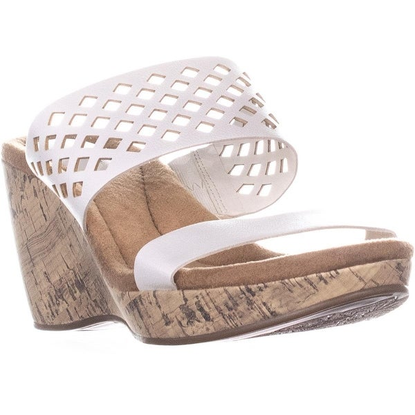 699a47a4a19 Shop GB35 Pasey Perforated Mule Wedge Sandals, White - 8 US - Free ...