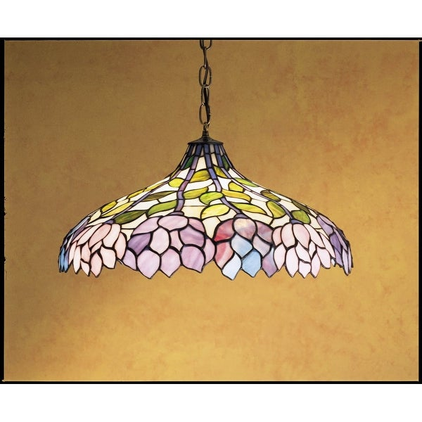 Meyda Tiffany 30449 Stained Glass / Tiffany Down Lighting Pendant from the Classic Wisteria Collection - tiffany glass