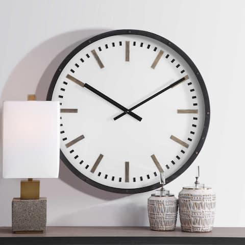 "Uttermost 06103 Fleming 32"" Iron Framed Analog Wall Mount Clock - White"