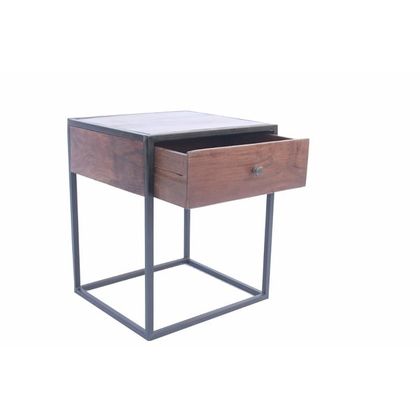 Contemporary Iron & Wood Bed Side Table