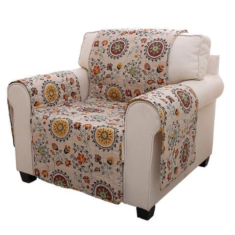 Polyester Arm Chair Protector with Floral Print, Multicolor
