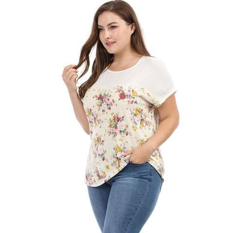 Women Plus Size Dolman Sleeve Print Shirt Sheer Floral Summer Top