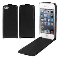 Unique Bargains Black PU Leather Pouch Flip Case Cover Protector for Apple iPhone 5 5G 5S 5th