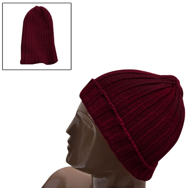 A418-D122 Unisex Dark Red NEW Simple Knitting Textured Elastic Casual Beanie Hat F