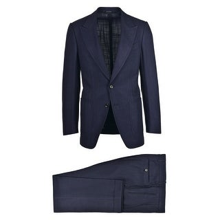 Tom Ford Mens Solid Navy Textured Shelton Two Piece Suit - 36 r