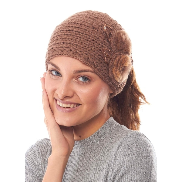 Cuddly Candytuft Knit Winter Headband with Faux Fur Details