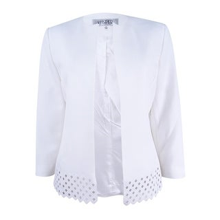 Kasper Women's Petite Cutout-Trim Blazer - new lily white