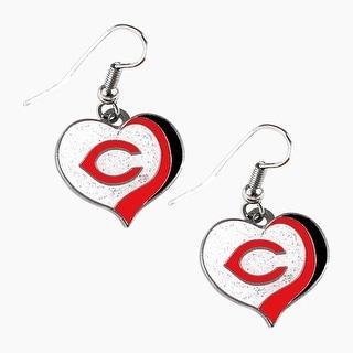 Cincinnati Reds MLB Glitter Heart Earring Swirl Charm Set